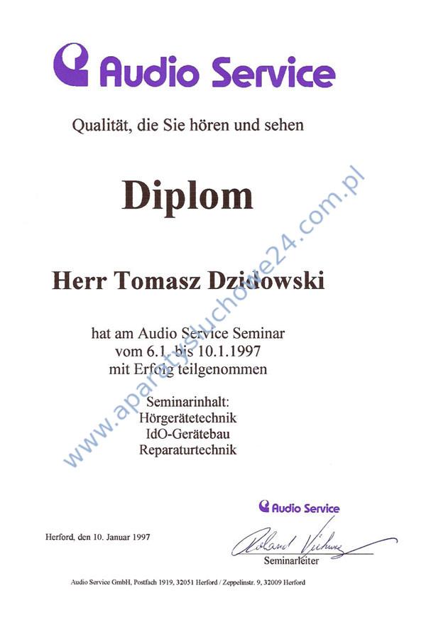 Certyfikat Audio Service