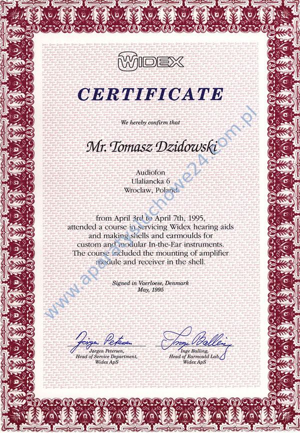 Certyfikat WIDEX